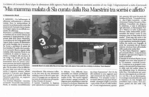 """""""MIA MADRE CURATA TRA SORRISI E AFFETTO"""", GRAZIE MAEASTRINI"""
